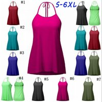 Wholesale crop lace tops - Solid Lace Up Vest Women Crop Top Sexy Back Lace-Up Tanks Summer Camis Casual Shirts Sleeveless Blusas Tees 7 Colors S-6XL OOA3868