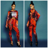 Wholesale Women Tiger Print Pants - Tiger Head Print Women Tracksuit Suits 2pcs set Outfits Long sleeve Shirt Crop Top+Ripped Pants Sexy Nightclub Sportswear Jogging Suit