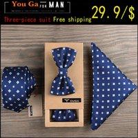 verheiratete männer anzüge großhandel-New Men's Tuxedo Geometric Fliege Hemd und Krawatte Geometric Married Groom Groomsman Herren Freizeitkleidung Business-Anzug Geschenk-Box importiert