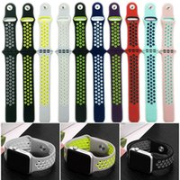 Wholesale iwatch wrist - Sport Silicone More Hole Loops Straps Bands Watchband For Apple Watch iWatch Series 1 2 3 Strap Band 38 42mm Wrist Bracelet VS Fitbit Strap
