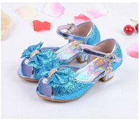 Wholesale white princess wedding high heels - Clearance Children Girl Princess Sandals Kids Girls Summer Wedding Shoes High Heels Dress Shoes Party Shoes For Girls 4 Colors 12Size Sandal
