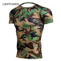 Wholesale camo compression shorts online - Army Green Camo T Shirts Men Crossfit Compression Shirt Short Sleeve GYMS T Shirts MMA Rashguard Fitness Tshirt Brand Tees Tight