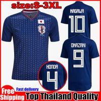 Wholesale Japanese Uniform Blue - 2018 world cup Japan Soccer Jersey 2018 Japanese Home blue soccer Shirt #10 KAGAWA #9 OKAZAKI #4 HONDA HASEBE football uniform JerseyS 2018