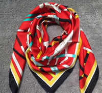 Wholesale horse silk scarf square - New Brand Design Women's Square Scarves 100% Silk Material Print Horse Tresors Retrouves Fashion Scarf Size 90cm*90cm Free Shipping