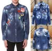 mens ince sığan denim gömlek toptan satış-Erkekler Aplike Yama Hasar Gömlek Erkek Uzun Kollu Gömlek Casual Düz Renk Denim Slim Fit Mens