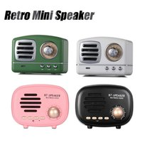 radio bluetooth samsung al por mayor-Retro Mini Altavoz portátil Bluetooth Subwoofer Bajo pesado Multimedia Radio U disco TF FM Manos libres con paquete al por menor para iPhone Samsung