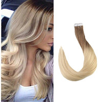 Wholesale double tape hair extensions pieces for sale - Balayage Color Top Grade High Quality Virgin Remy Hair Straight Seamless Human Hair PU Tape Hair Extension G Per Bundle