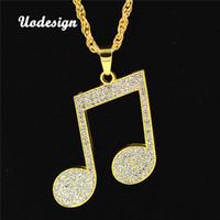 colgante de oro nota musical collar al por mayor-Uodesign Rhinestone Rhythm Pendants Necklace Hombres Hiphop Music Note Cadena larga Collar de aleación de color oro