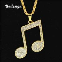 ingrosso collana del pendente della nota di musica dell'oro-Uodesign strass ritmica collana pendente uomini collana di hiphop musica nota lunga catena color oro lega