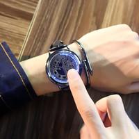 ingrosso tocco di albero-2019 orologi da uomo di marca di lusso firmati casual orologio touch screen a LED unico orologio freddo con motivo ad albero orologi in pelle PU regalo ora