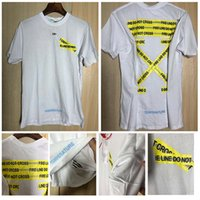 Wholesale Neck Tape - VIRGIL ABLOH t shirts 18ss Mens OFF ECTIC FIRE TAPE Line Print Hip Hop T-shirts Loose skateboard tshirt Designer Tee Short Sleeve white