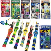 Wholesale mini ninjas - Kid Education Toy Bricks Mini Super Hero Phantom Ninja Mini Building Blocks Original Box Electronic Watch Minifigures For Children 7 9dg YY