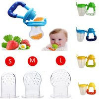Wholesale Dummy Hands - Wholesales Baby S~L Pacifiers Silicone Kids Drinkware Fresh Food Feeder Feeding Nipple Dummy Fruits Nibbler Soother Bottle Clip Chain