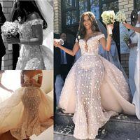 desmontagem fora do ombro vestido de renda venda por atacado-Lace Sereia Vestido De Noiva Com Trem Destacável Sexy Off The Shoulder Floral 3D Vestidos de Noiva Arábia Saudita Longo Robe De Mariee