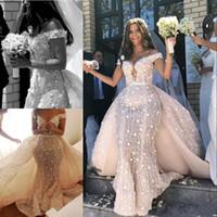 abnehmbares schulter-spitzenkleid abnehmbar großhandel-Spitze Meerjungfrau Brautkleid mit abnehmbarem Zug Sexy aus der Schulter 3D Floral Brautkleider Charming Saudi-Arabien lange Robe De Mariee