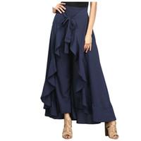 Wholesale wide leg pants skirt - Wrap Skirts for Women 2018 New Casual Fashion Navy Chiffon Tie-Waist Ruffle Wide Leg Loose Pants LC77034 Black Grey