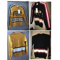 Wholesale Colored Sweater - Luxury Brand Mens Sweaters BLIND FOR LOVE Letter Pullover Christmas Tiger Sweaters Red Stripes Winter Sweatshirts Hoddies Long Sleeve 80102