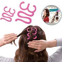 ingrosso tipi di onde di capelli-Treccia Rosa Centipede Treccia Capelli Wave Tipo Vassoio Styling Prodotto Strumenti in plastica