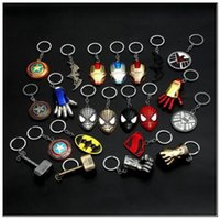 Wholesale superhero rings - The Avengers Captain America Shield Keychain Superhero Thor Hammer Thanos KeyChain Key Ring Fashion Accessories Novelty Items CCA9721 120pcs