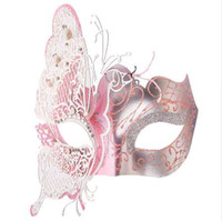 kelebek top maskesi toptan satış-Kadınlar Metal Parti Maskesi Hollow Kelebek Lazer kesim İmitasyon Kristaller Topu Balo Prenses Venedik Maske