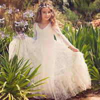 habillement achat en gros de-Les enfants des modèles de robes en dentelle à manches mandarine fleurs fille robes d'été enfants princesse enfants enfants robes de mariée fête de mariage brithday