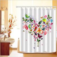 ingrosso tessuto di stampa girasoli-Farfalla cuore modello 3D Stampa personalizzato impermeabile bagno moderno girasole doccia tenda poliestere tessuto bagno tenda porta tappetino set
