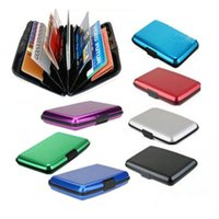 Wholesale gift card holders wholesale box - Glossy multicolored pocket waterproof wallet business ID credit card purse cash holder aluminium alloy(outer)+plastic(inner) with gift box