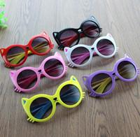 Wholesale kids cartoon sunglasses online - Fashion Kids Sunglasses Girls boys cartoon cat Eyeglasses toddler baby sunglasses fit baby kids children age years KKA4032