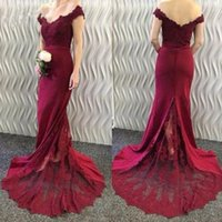 Wholesale double v dress - 2018 Sexy Burgundy Mermaid Bridesmaid Dress With Court Train Long Prom Gowns Plus Size Honor Of Maid Dress Double V-neck