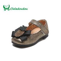 детская обувь оптовых-Claladoudou 11.5-15.5CM  Toddler Girls Shoes Black Crystal Bow Princess Shoes Gold Baby Girls Infant Shoe Silver