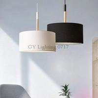 kumaş lambalar toptan satış-İskandinav tarzı modern D25cm D40cm sarkıt aydınlatma yüksek kalite siyah beyaz büyük kumaş bez gölge tavan sarkıt