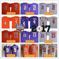 Wholesale Kelly Green Shorts - Youth Clemson Tigers Kids #2 Kelly Bryant 9 Travis Etienne Jr. 13 Hunter Renfrow 4 Watson Purple Orange White Stitched NCAA Football Jerseys