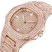 ingrosso orologi di marca all'ingrosso-Orologi all'ingrosso Uomo Luxury Brand Calendario Diamante Orologi da polso al quarzo Uomo Oro Orologi design vintage Montre Homme Gold Nuovo