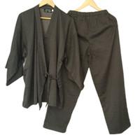 pijamas kimono robe venda por atacado-Algodão Yukata Quimono Japonês Homens Pijamas Pijamas Dos Homens de Algodão Kimono Robe e Calças M L Tamanho venda Quente