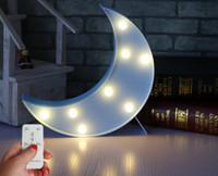 fernbedienung batteriebetriebene led großhandel-Batteriebetriebene Nachtlicht LED Festzelt Zeichen mit Wireless-Fernbedienung für Kinderzimmer, Schlafzimmer, Party, Hauptdekorationen (White Moon)