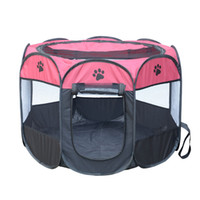 Wholesale pet playpens online - HOT Portable Folding Pet tent Dog House Cage Dog Cat Tent Playpen Puppy Kennel Easy Operation Octagonal Fence outdoor supplies