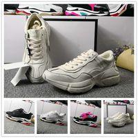 Wholesale Vintage Shoes Sale - 2018 Cheap Sale Rhyton Vintage Trainer-s Sneaker Fashion Paris Triple s Luxury Shoes Women Men Top quality Retro Casual Day Shoes Size 35-44