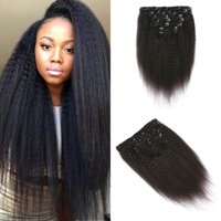 Wholesale black hair extensions prices resale online - Peruvian Hair set Kinky Straight Clip In Extensions For Black Women inch In Stock Factory Price G EASY