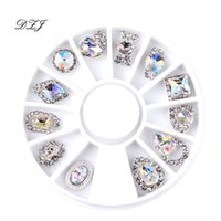 motifs strass achat en gros de-12 Pcs Nail Art Décoration Motifs Nail Art Strass Diamant 3D Conseils Accessoires Bijoux Manucure Outils Décoration DIY Design