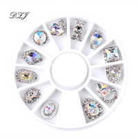 ingrosso diamanti 3d di arte del chiodo-12 Pz Nail Art Decoration Patterns Nail Art Rhinestone Diamond 3D Suggerimenti Accessori Gioielli Manicure Strumenti Decorazione DIY Design
