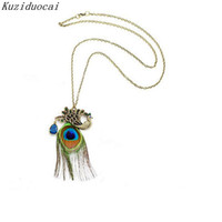 Wholesale Long Bronze Chain - Kuziduocai New ! Fashion Fine Jewelry Retro Bronze Crystal Personality Peacock Feathers Long Necklaces & Pendants For Women N-19