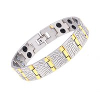 wholesale magnetic therapy bracelets 2018 - New Design Copper Wood textured Magnetic Therapy Bracelet for Arthritis Relief Link chain bracelet wristband wholesale