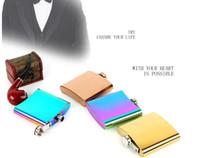 ingrosso acciaio inossidabile color oro-Fiaschetta portatile da 6 once, placcato oro, colore sfumato, color arcobaleno, tappo in acciaio inossidabile, tappo a vite, bottiglia di vino