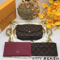 Wholesale business card gifts online - AAA woman brand wallet high quality wallet with gift box metal chain ladies wallet clutch