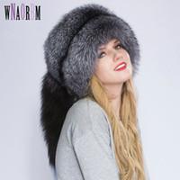 cola de zorro al por mayor-Real Fox piel princesa Sombrero Mongolia sombrero proceso único cola de zorro Diseño de lujo de invierno mantener calientes sombreros para mujeres de moda
