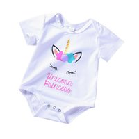 Wholesale colorful rompers - Baby Jumpsuit Unicorn Printed Colorful Hair Summer Baby Girls Short Long Sleeve Rompers Cotton Pullover 0-18M