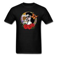 neuheit schädel hemden für männer großhandel-Original Tops Neuheit Männer Rundhalsausschnitt Kurzarm Mens Sugar Skulls T-Shirts