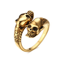 metall hohlkörper großhandel-Neue Ankunft Paar Schädel Ringe Männer Gold Silber Farbe Schlange Skeleton Body Männlich Biker Ring Hohl Punk Edelstahl Metall Halloween Schmuck