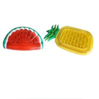Wholesale pvc beds online - PVC Inflatable Bed Pineapple Half Watermelon Fruit Swimming Ring Floats Water Toys For Summer Adults Pool Air Mattress Thicken rd B