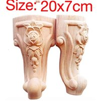 Wholesale Feet Tv - 6PCS LOT Size:20x7CM European Style Furniture Accessories Wood Carved Flower TV Cabinet Foot Bathroom Cabinet Legs